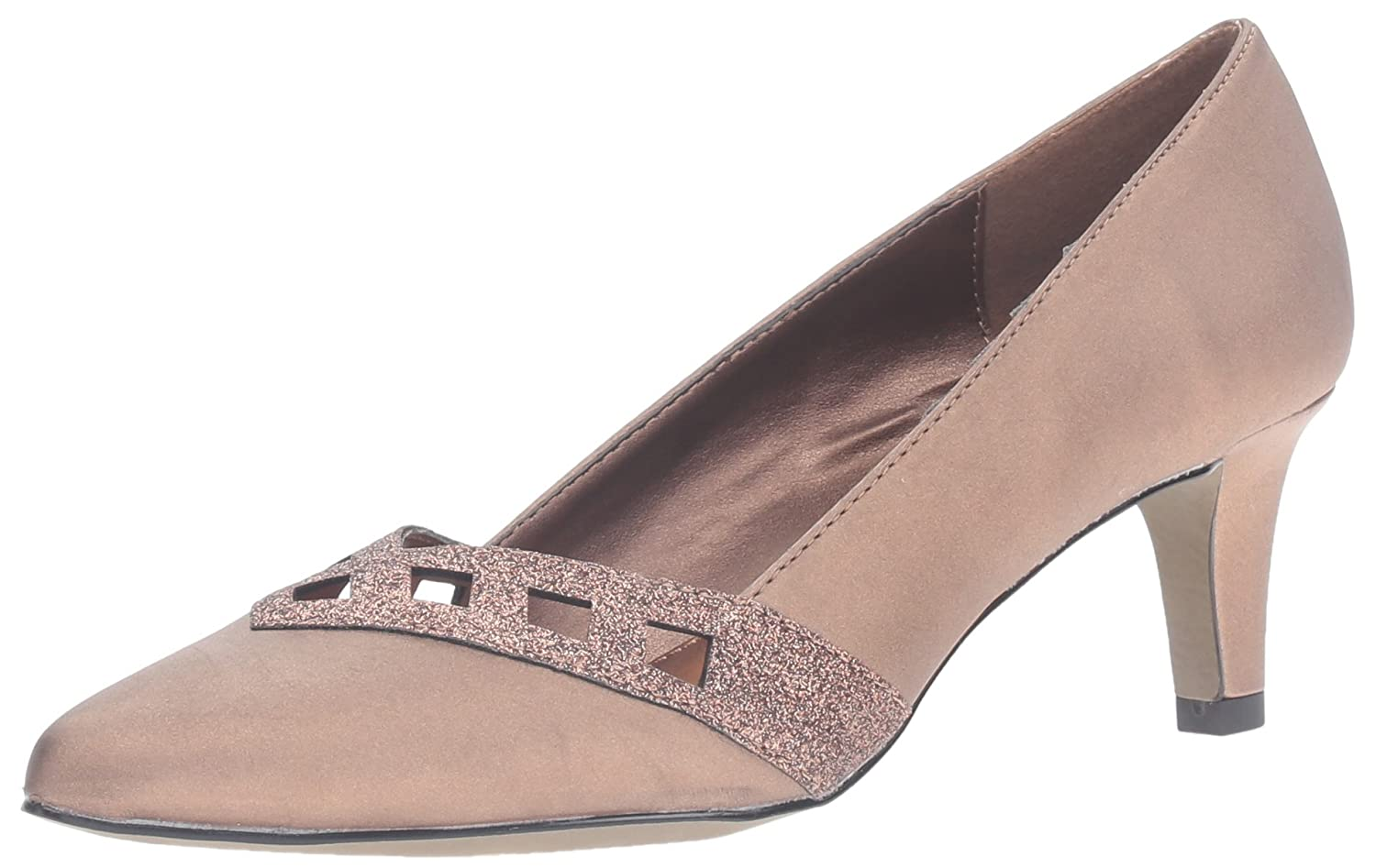 Easy Street Women's Valiant Dress Pump B01HSLSXEI 8.5 B(M) US|Bronze Satin/Glitter