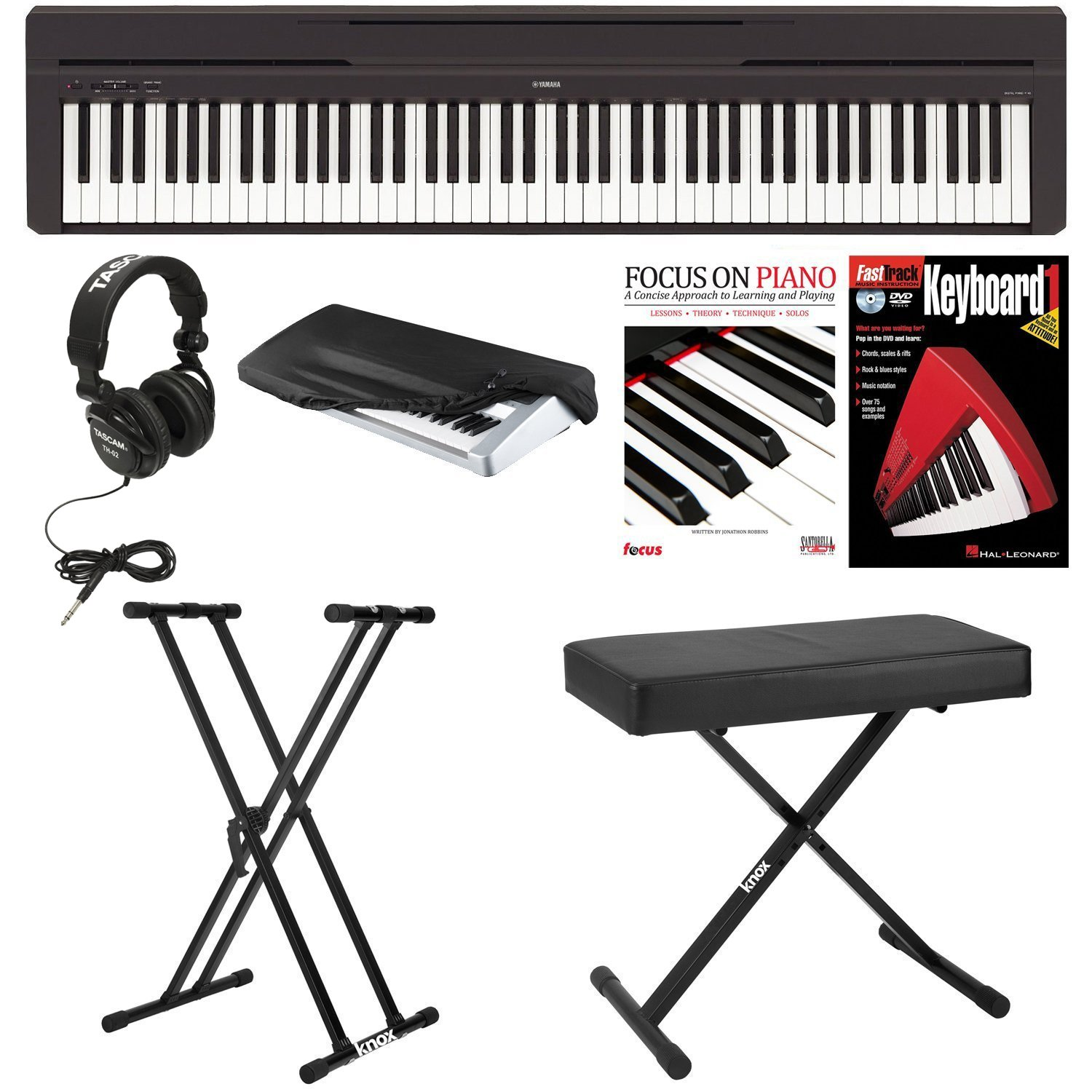 Yamaha P45B Digital Piano with Knox Bench,Knox Double X Stand, Headphones, Dust Cover, and FastTrack Keyboard Method Starter Pack