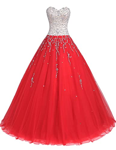 TrendProm Women's Prom Dresses Sweetheart Quinceanera Dresses Tulle with Beads