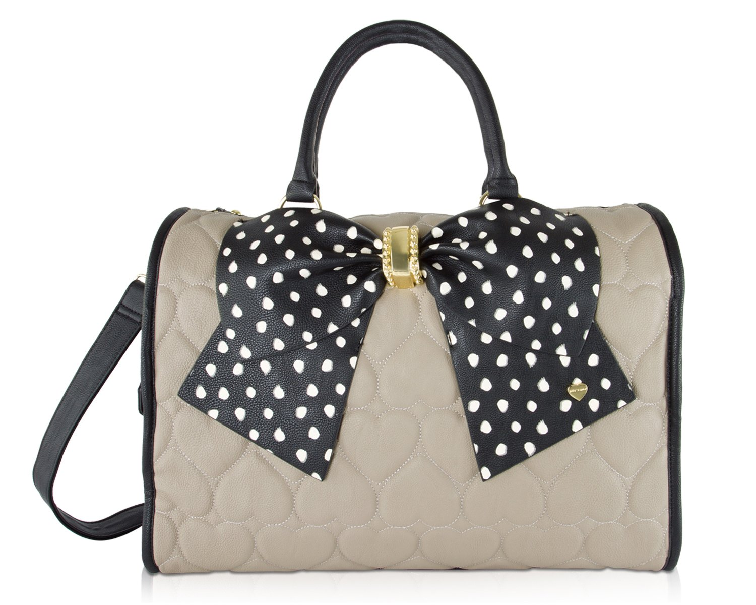Betsey Johnson Heart Quilted Bow Carry On Weekender Travel Duffel Bag -Taupe Black