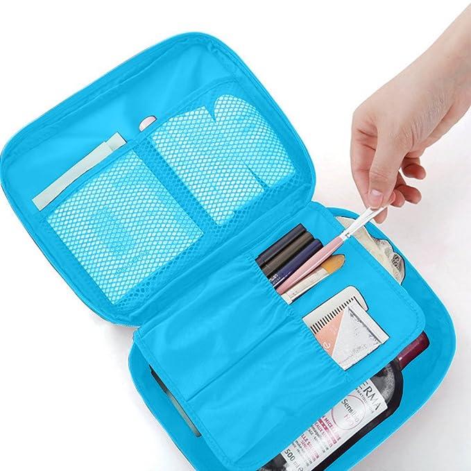 Woson - Bolso organizador/neceser de viaje para maquillaje y cosméticos (21 x 8 x 16 cm), impermeable, con 5 compatimentos: Amazon.es: Belleza