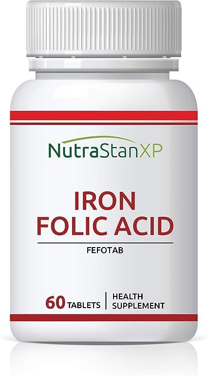 Amazon.com: NutrastanXP Suplemento de ácido fólico de hierro ...