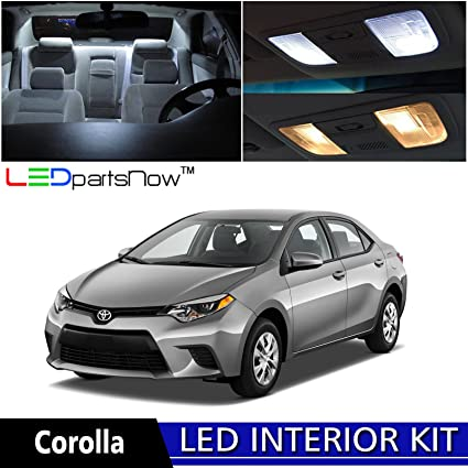 LEDpartsNow 2015 2018 Toyota Corolla LED Interior Lights Accessories  Replacement Package Kit (6 Pieces