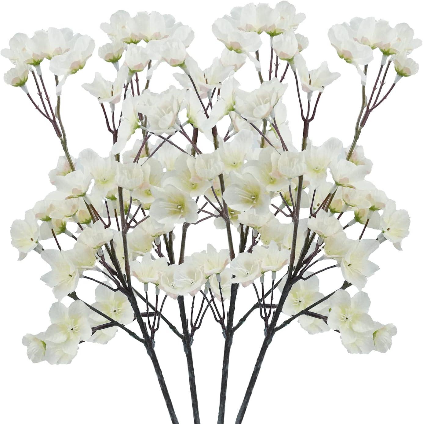 4Pcs Artificial Cherry Blossom Flower, Uieke Silk Peach Flowers Fake Plants Arrangement for DIY Garden Home Wedding Party Room Decor White