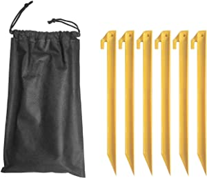 A&A 6 pcs Tent Spikes Plastic Tent Stakes Tent Pegs Garden Stakes for Beach Mat Camping Outdoor