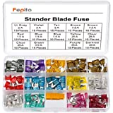FEPITO 180pcs Mini Blade Fuse Set Assortment Car Fuses 2A 3A 5A 7.5A 10A 15A 20A 25A 30A 35A 40A for Auto Car Truck with 1 Blade Fuse Extrator and 1 Storage Box