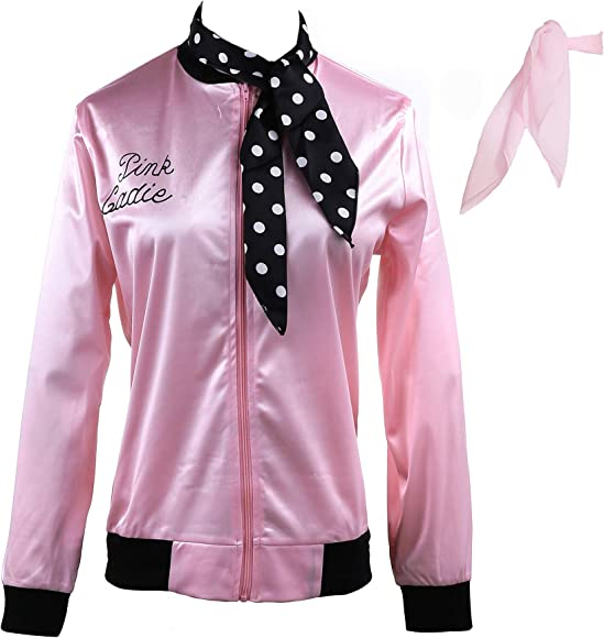 Pink Ladies 1950s Neck Scarf Womens Fancy Dress Costume Accessory