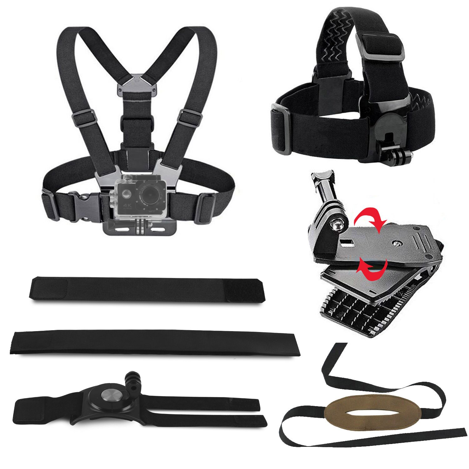 Chest Mount Harness for Gopro Action Camera Accessories Including Head Strap Mount Belt, 360-degree Rotating Arm/Wrist Strap Mount, Chest Mount Harness for GoPro Hero 6/5/4 Session Sports Camera