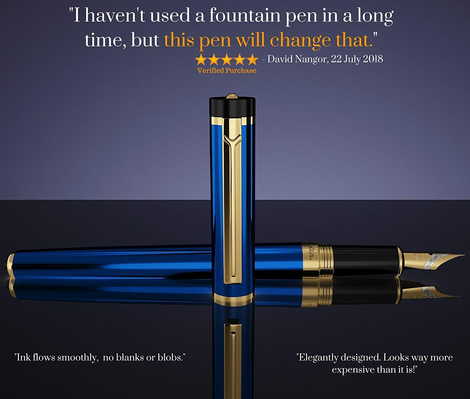 DRYDEN Luxury Fountain Pen [MYSTERIOUS BLUE] - BEST Fountain Pens Gift Set - Smooth Elegant Writing - Calligraphy - FREE Ink Refill Converter by Dryden Designs (Image #2)