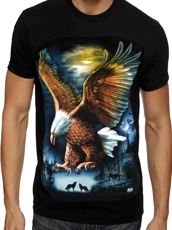 motard T-shirt pour homme motif aigle personnage indien et lune loup