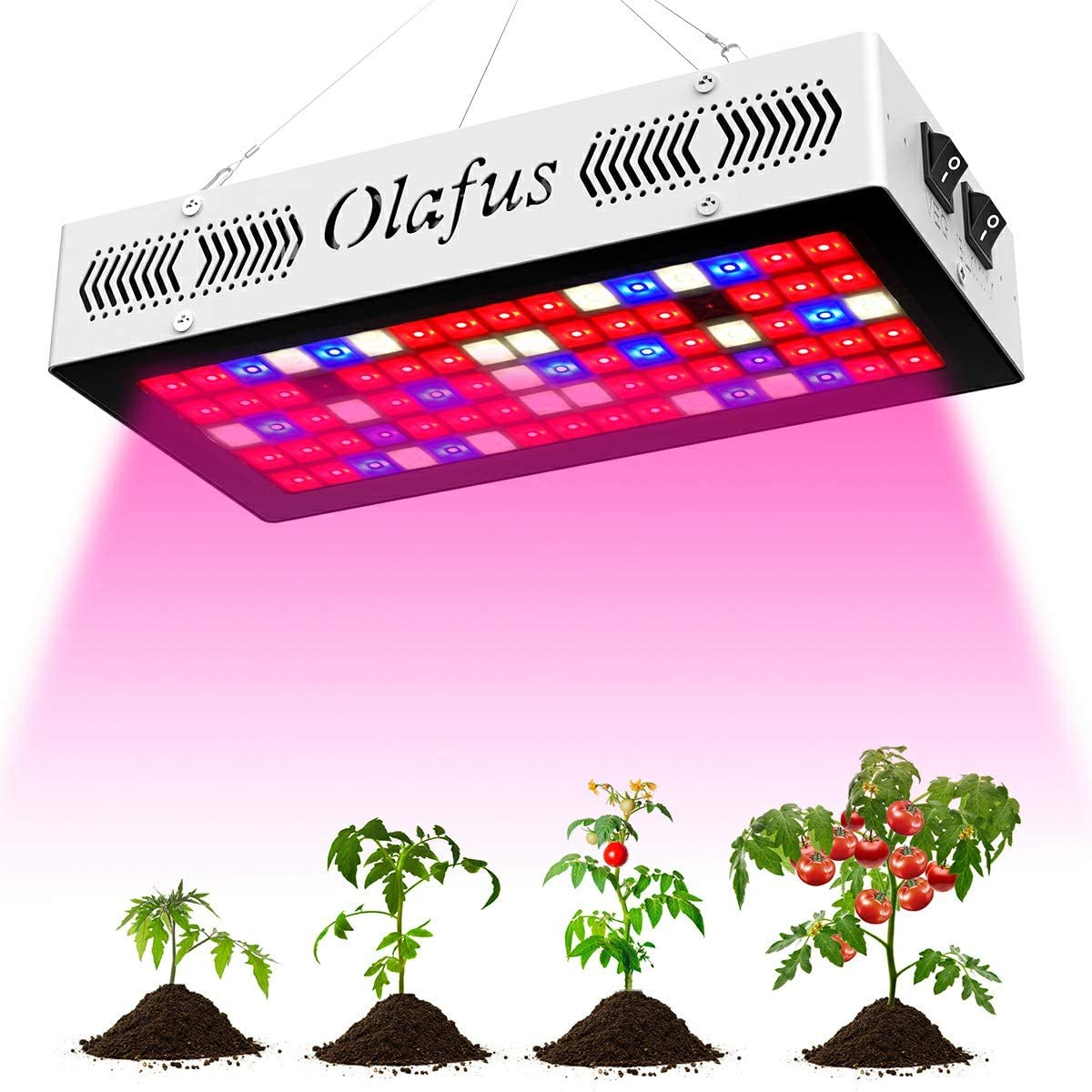 Olafus LED Grow Light for Indoor Plants 300W(80pcs 10W LEDs), Full Spectrum Grow Lamp, Veg and Bloom Dual Mode, Similar Sun Light IR UV Plant Growing Lights for Seeding Vegetable Flower