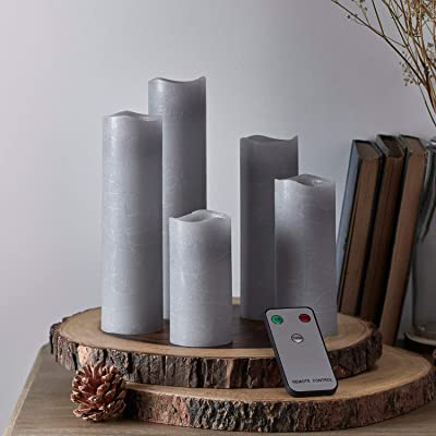 Lights4fun, Inc. Set of 5 Gray Wax Battery Operated Flameless LED Slim Pillar Candles with Remote Control: Home & Kitchen