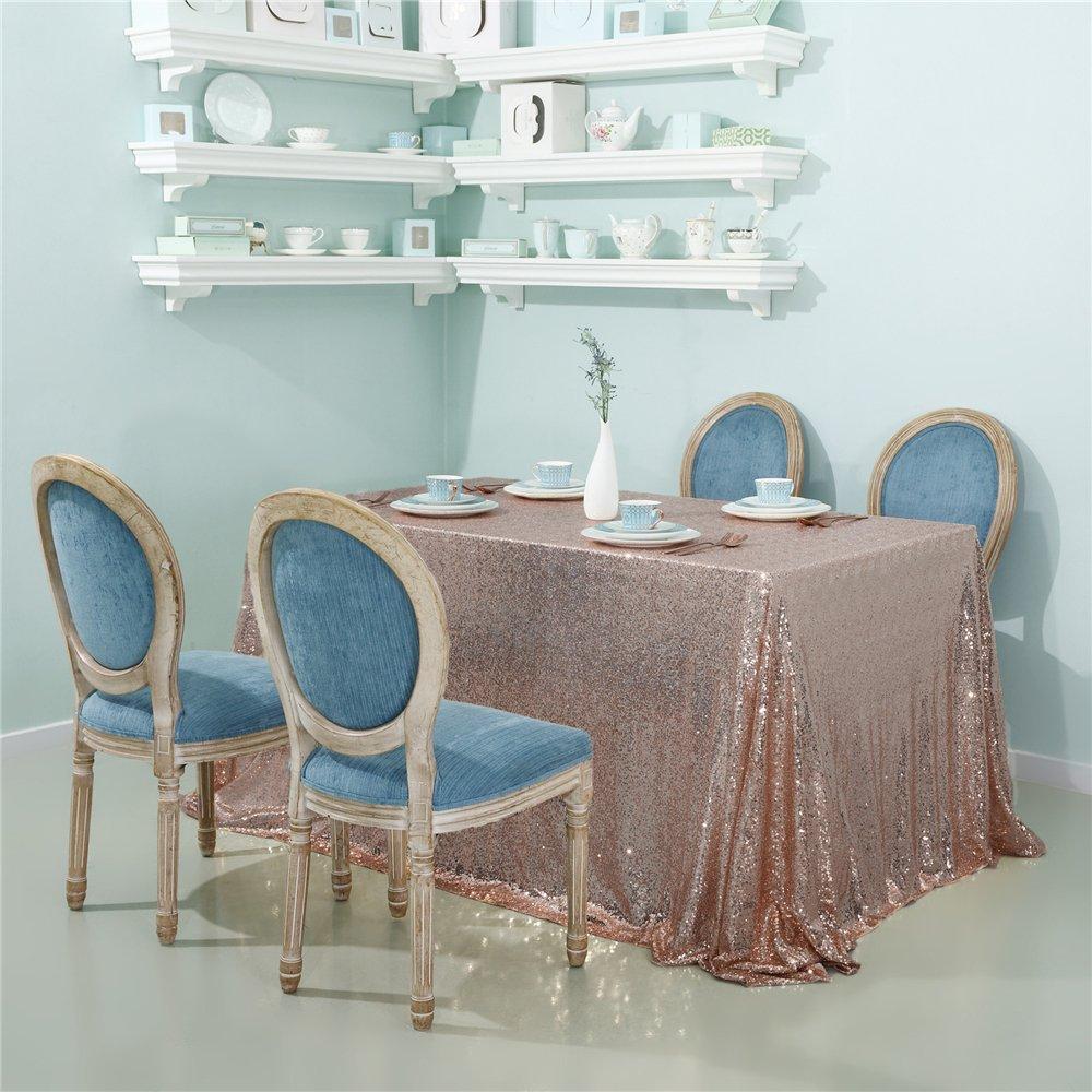 "Zdada Rose Gold 60""x120"" Rectangular Sequin Tablecloth Sparkly Sequin tablecloth for Wedding"