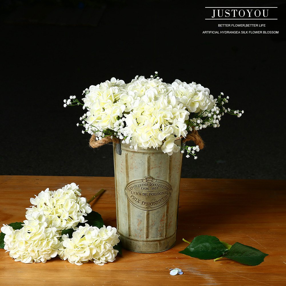 Amazon Justoyou 4pcs Artificial Hydrangea Silk Flower Blossom