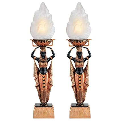 Charmant Design Toscano Egyptian Torch Offering Table Lamp   Set Of Two