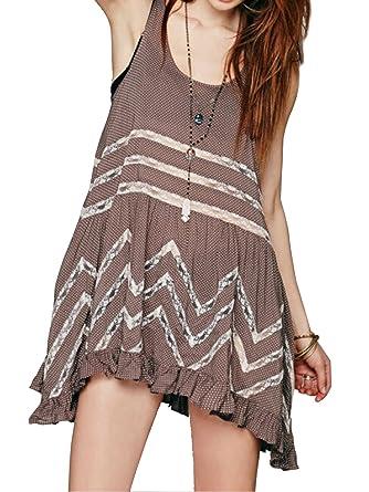 8de816fac894 R.Vivimos Women Summer Openwork Lace Stitching Asymmetric Polka Dot Dress  X-Large Brown at Amazon Women's Clothing store: