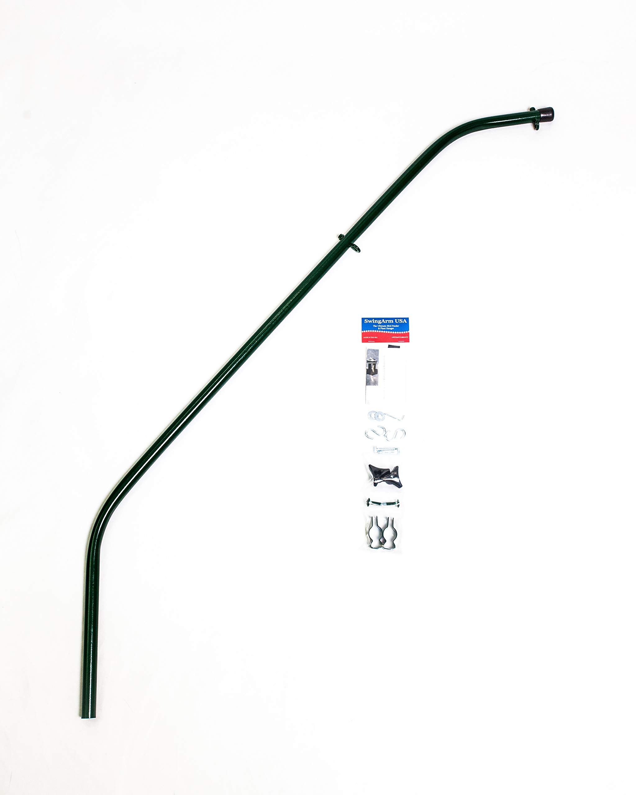 Strongest Extended Reach 60'' Double Hook Swinging Bird Feeder Pole Holds 2 Feeders! Easy Refilling & No More Messy Decks! Made in The USA (Hunter Green)