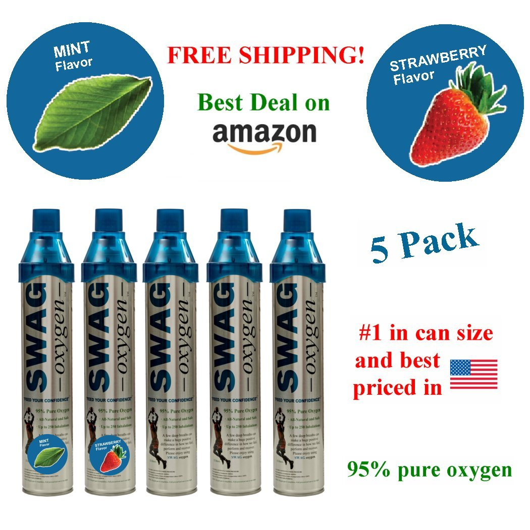 Flavored Personal Oxygen Bar (5 Pack) (Mint, Strawberry and Natural)