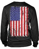 Big Distressed American Flag Long Sleeve Mens T-Shirt Tee