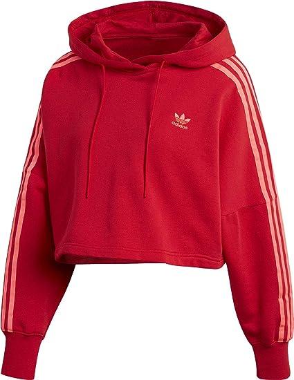 100% de qualité conception adroite faire les courses pour adidas Cropped Hood Sweat A Capuche Femme Rouge EJ9345 ...