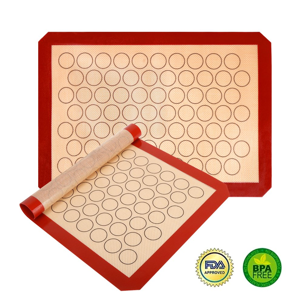 Non Sitck Silicone Baking Mat Macaron Sheet - Non-slip Set of 2 Sheet (16.5'' x 11.6'') - Heat Resistant/Non Stick Silicon Liner for Bake Pans & Rolling - Macaroon/Pastry/Cookie Making by YORLFE