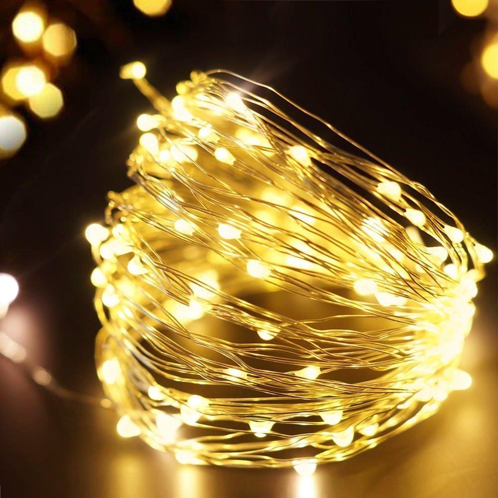 Amazon.com : 100 White LED Lights String Plug-in 12V Waterproof ...