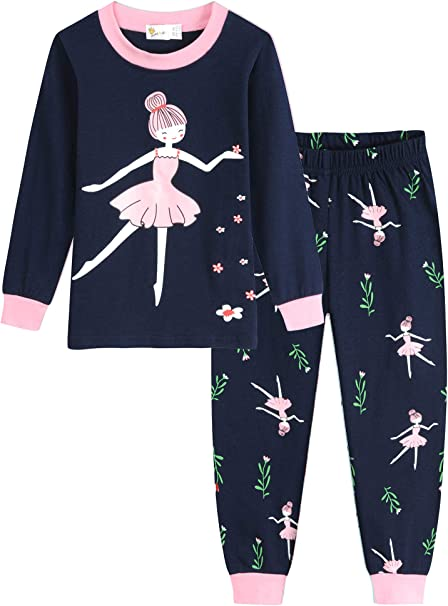 Eulla Pijama para niña, diseño de jirafa, ropa de noche de algodón, ropa de verano para niños, pijama de dos piezas: Amazon.es: Ropa y accesorios