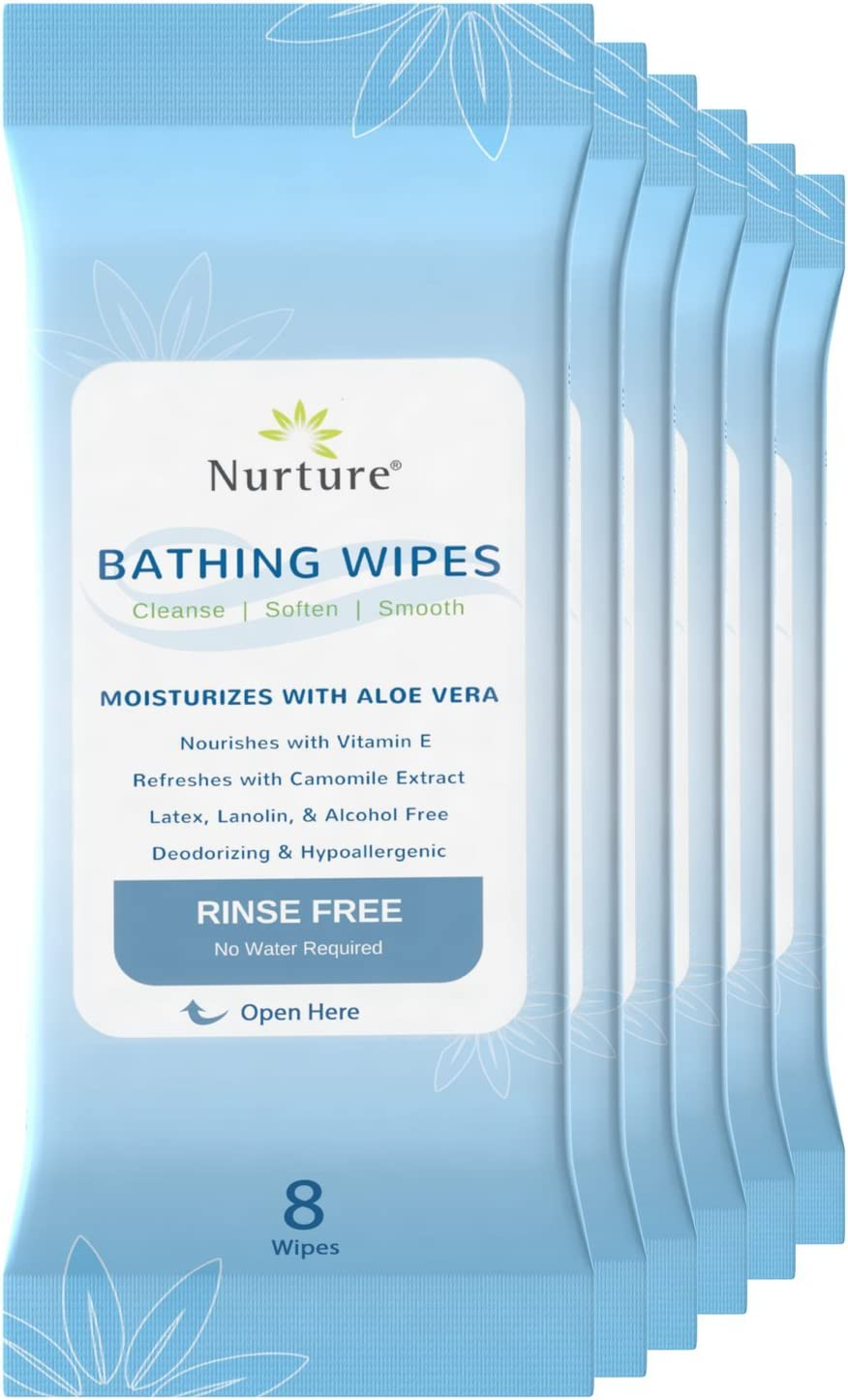 No Rinse Bathing Wipes (6-Pack) | 48 Microwavable Adult Wash Cloths with Aloe Vera and Vitamin E - Rinse Free Cleansing Body Bath Wipes - Latex, Lanolin, and Alcohol Free - 6 Packs of 8 Wipes