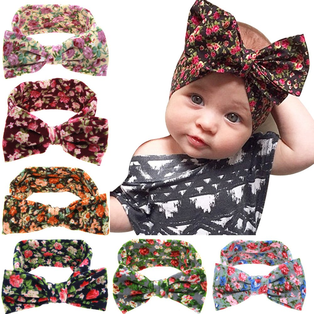 Jiaqee 6 Pack Baby Girl Bowknot Turban Headband Head Wrap Knotted Hair Band Sets by Jiaqee
