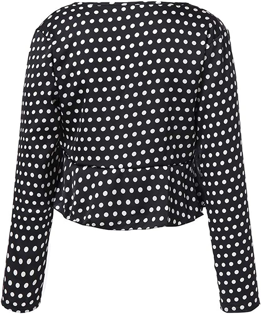 Lenfesh Camisas Estampado de Lunares para Mujer Camisas Manga Larga del otoño Blusa del Lunar del Fiesta Camisetas V Cuello Fiesta Boho Blusa Tops Camiseta: Amazon.es: Ropa y accesorios