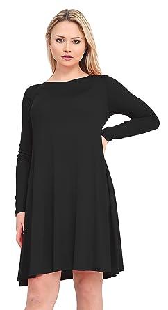 c29e05ab61ea XuBiDuBi Women A Line Swing Dress Long Sleeve Skater Dress Size 8-26   Amazon.co.uk  Clothing