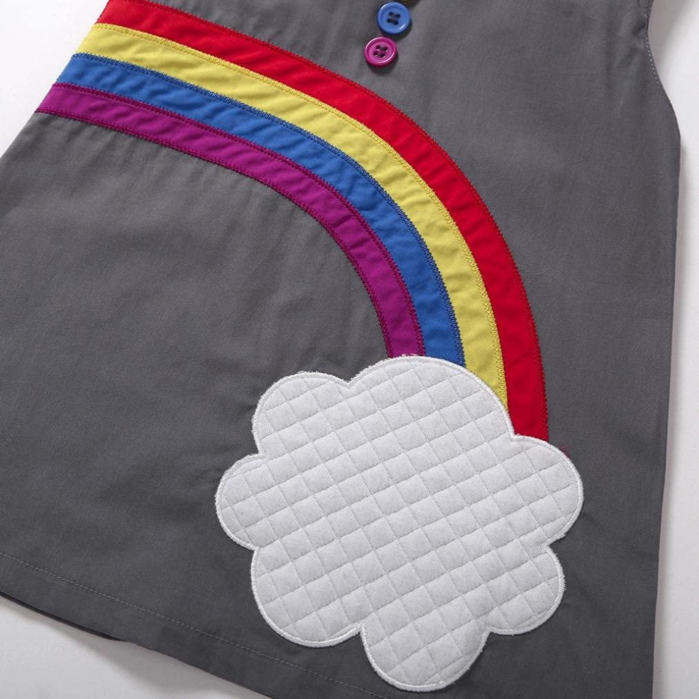 Internet Fashion Girl Baby Cute Summer Cotton Dress Rainbow Cloud Pattern Vest Skirt for 0-4 Years