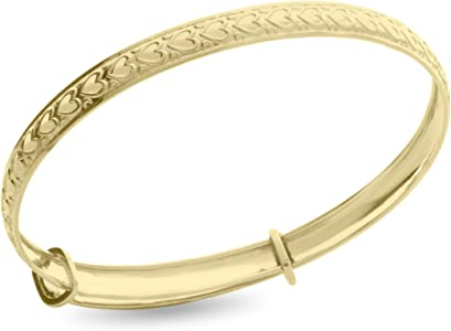 9ct Real Gold Baby Heart Designed Babies Children/'s Expanding Bangle Jewellery