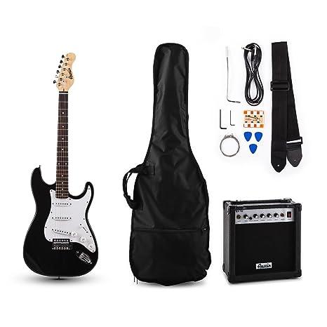 Austin RC – Conjunto de guitarra eléctrica estilo Stratocaster, amplificador y accesorios (cuerdas,