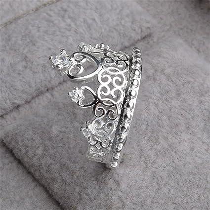 Skyllc Anillo de la corona delicada princesa reina de piedra de plata de plata delicada chapado