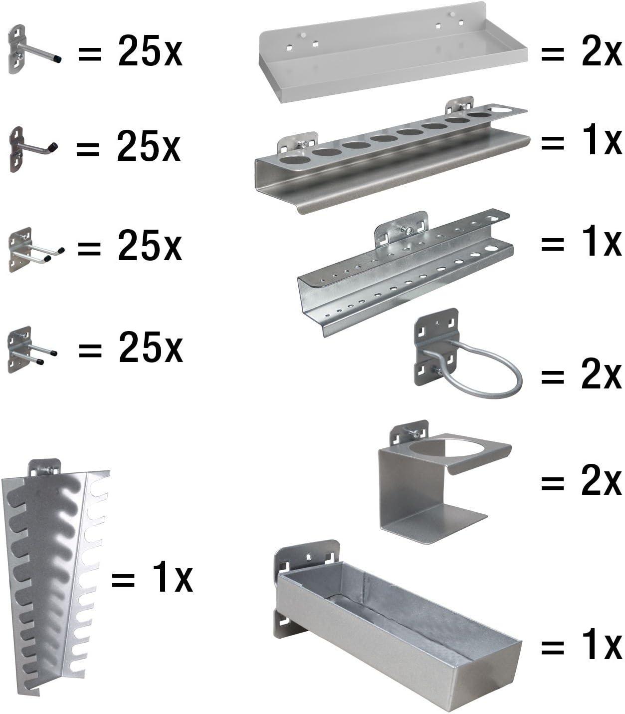 ADB Hakensatz Hakenset Werkzeug-Haken Set 40-teilig Lochwand Werkzeughalter