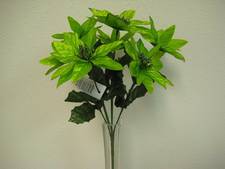 """4 Bushes LIME Christmas Poinsettia 7 Artificial Flowers 12/"""" Bouquet 209LIM"""