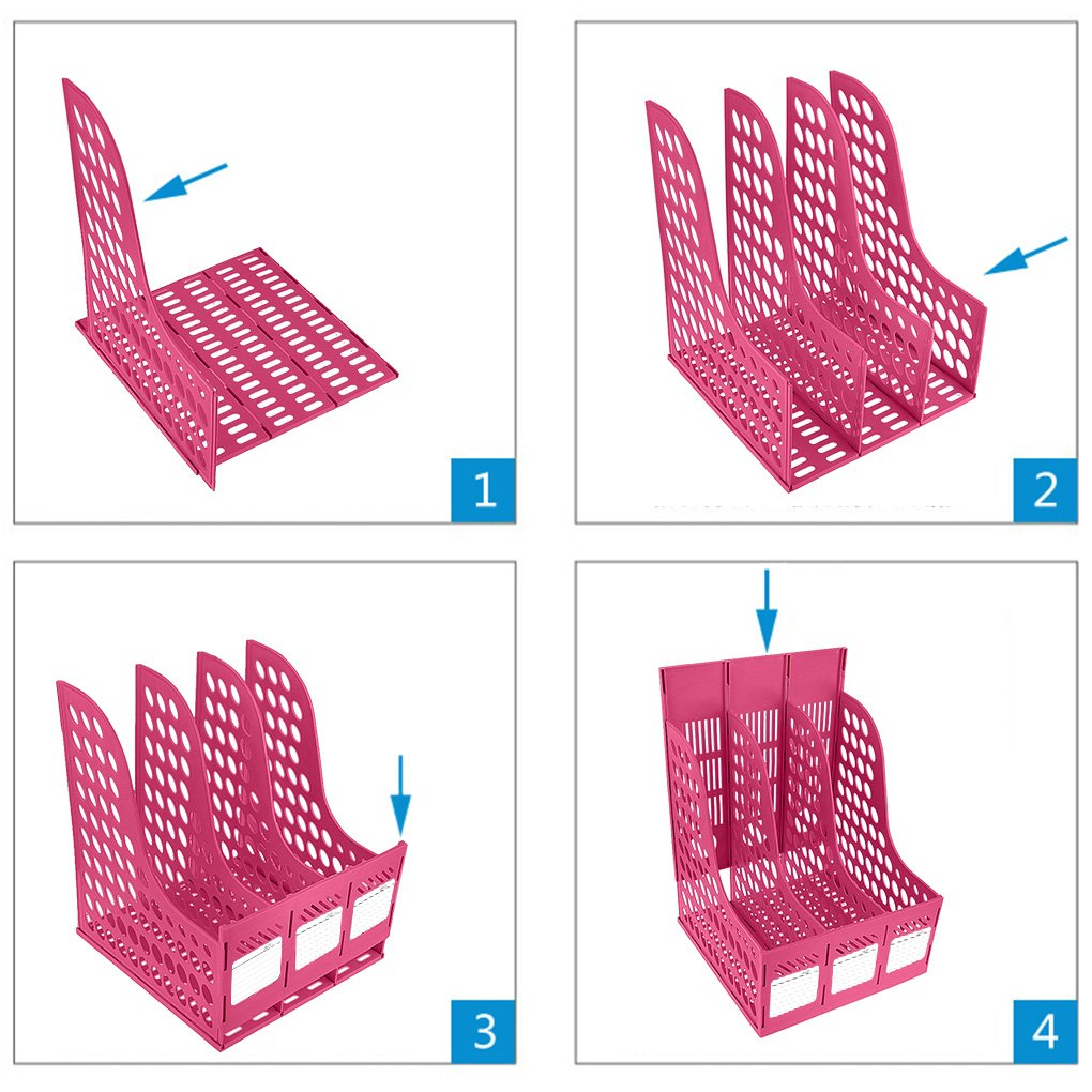 per riviste Liying Portariviste a 4 sezioni resistente documenti e raccoglitori ad anelli divisorio per organizzare i documenti Pink in polipropilene
