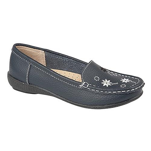 Boulevard - Zapatos/Mocasines Casuales de Piel para Mujer (41/Azul Marino)