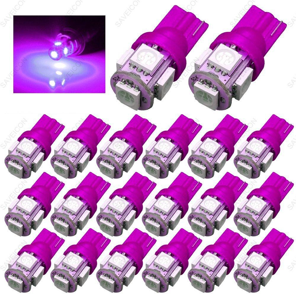 SAWE - 168 194 2825 T10 W5W 5050 5-SMD LED License Plate Dome Map Lights Bulbs (20 pieces) (Pink/Purple)
