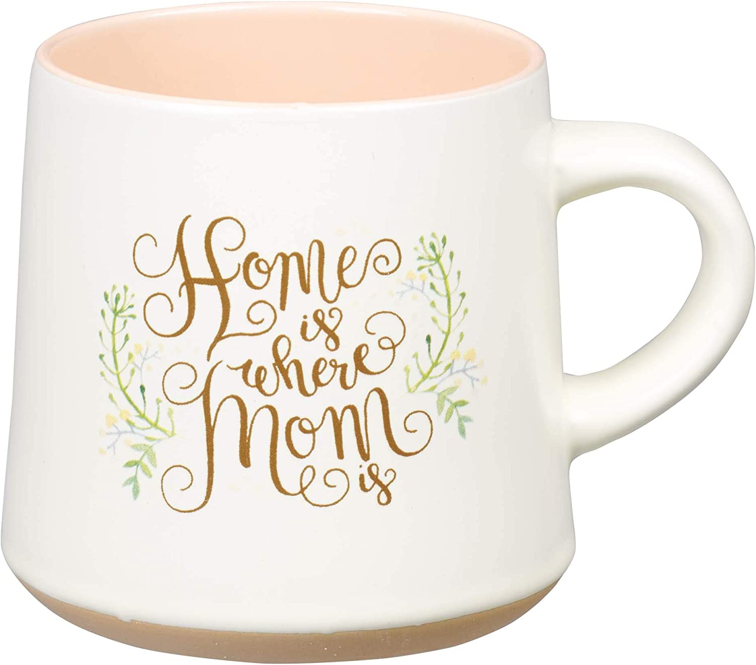 Home is Where Mom Is Clay Base Ceramic Coffee Mug for Mothers | Floral Rustic Teal & Ivory Cup for Coffee/Tea, Dishwasher Microwave Safe, 14oz