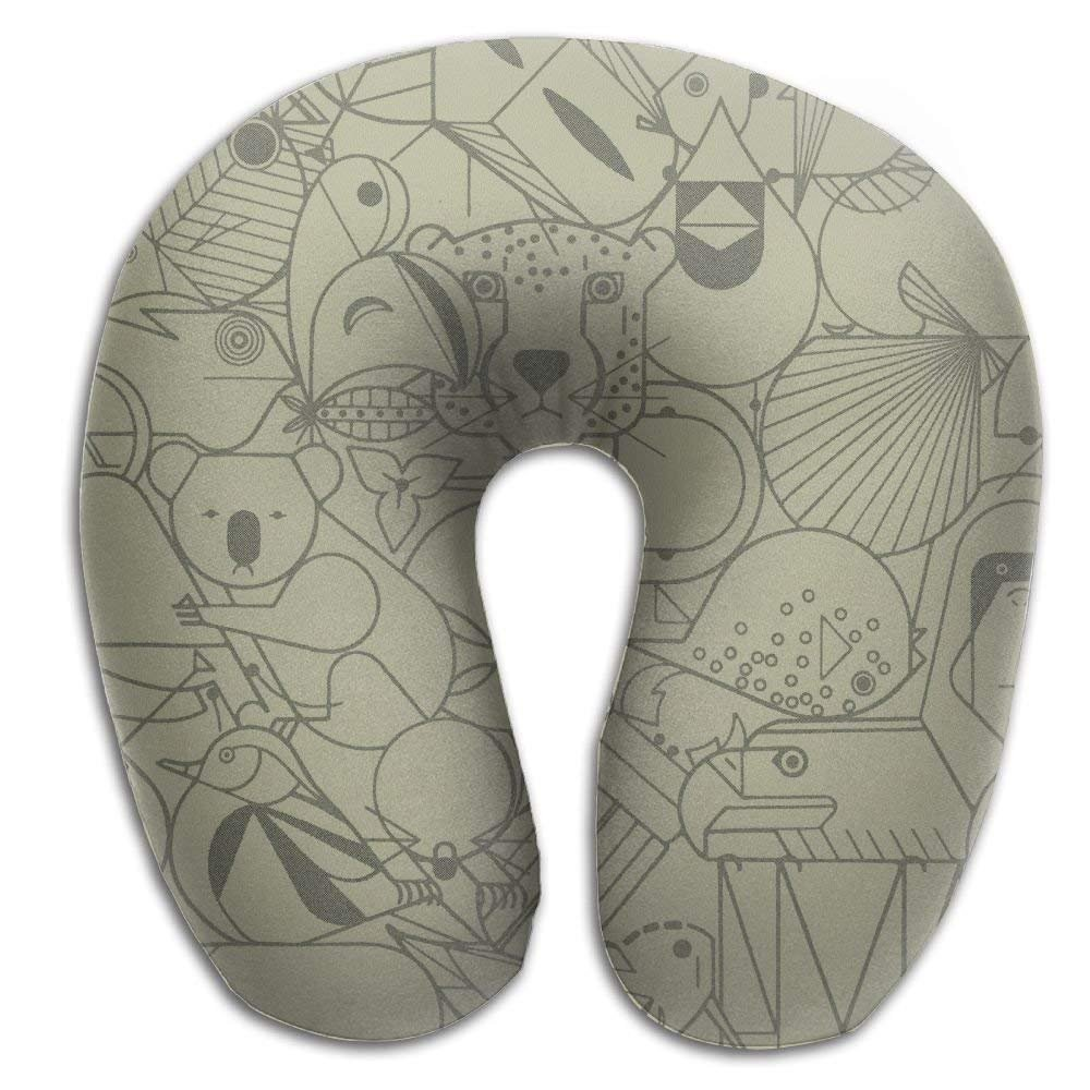 Wild Animal Simple Draw Memory Foam U-Shaped Pillow,Fashion Travel Rest Pillow for Neck Pain,Breathable Soft Comfortable Adjustable