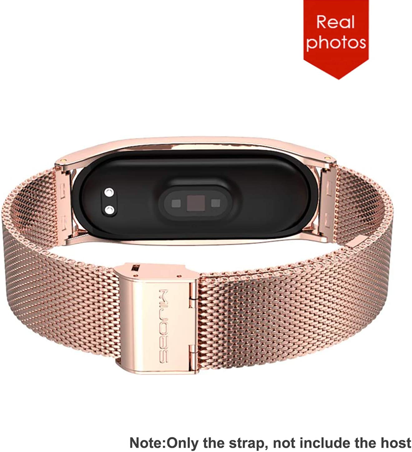 Morado No Host BDIG Correa Compatible Mi Band 4 Correas Metal,Pulsera de Acero Inoxidable Agradable para Mi Band 4 Correa