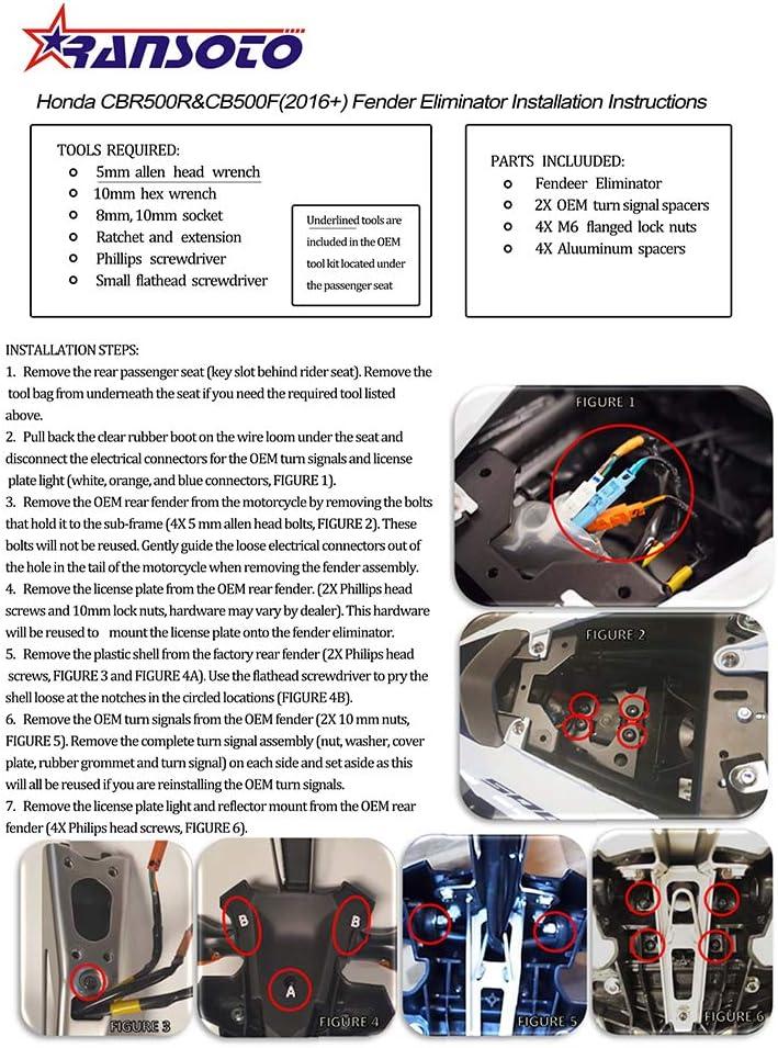 CB500F Festnight Kit de Plaque immatriculation /éliminateur Aile de Moto pour Honda CBR500R 2016-2019