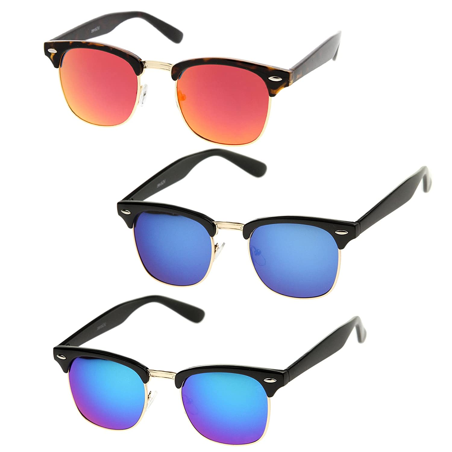 a5b6f0d8fe Amazon.com  zeroUV - Half Frame Semi Rimless Sunglasses for Men Women with  Colored Mirror Lens 50mm (3-Pack