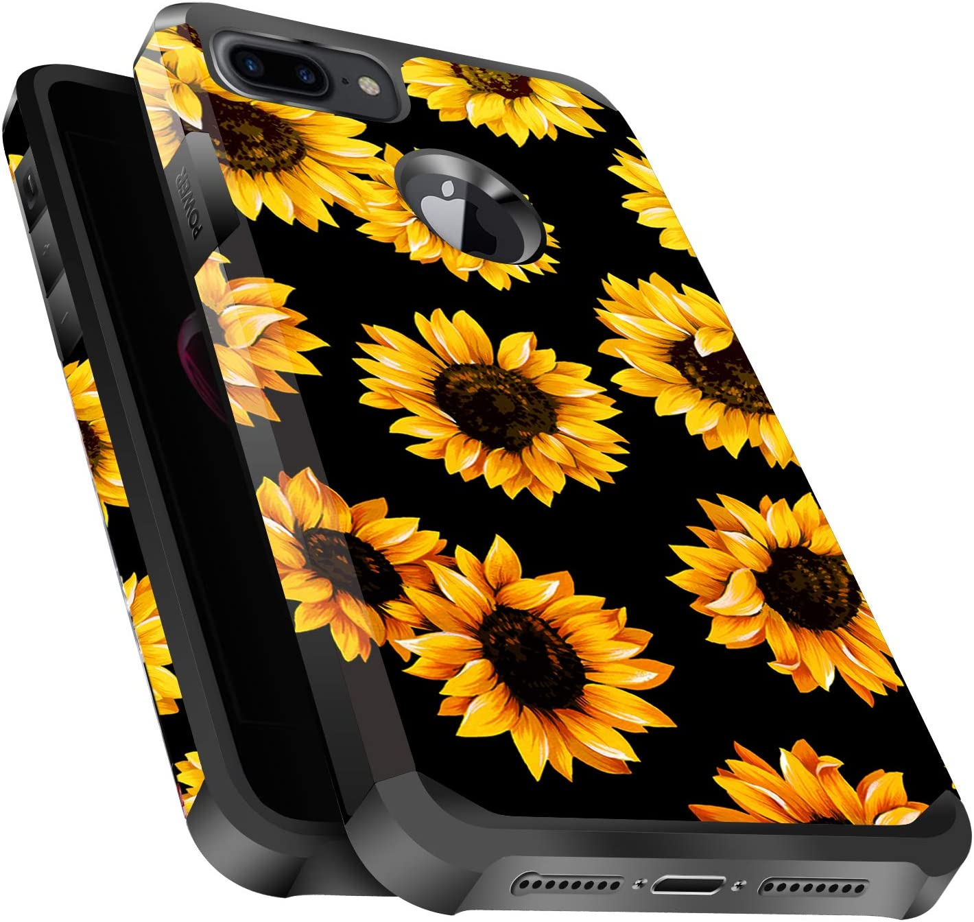 Miss Arts iPhone 6 Plus/ 6s Plus Case, iPhone 7 Plus/ 8 Plus Case, Slim Anti-Scratch with [Drop Protection] Cute Girls Women Heavy Duty Dual Layer Cover Case for Apple iPhone 6/6s/7/8 Plus -Sunflower