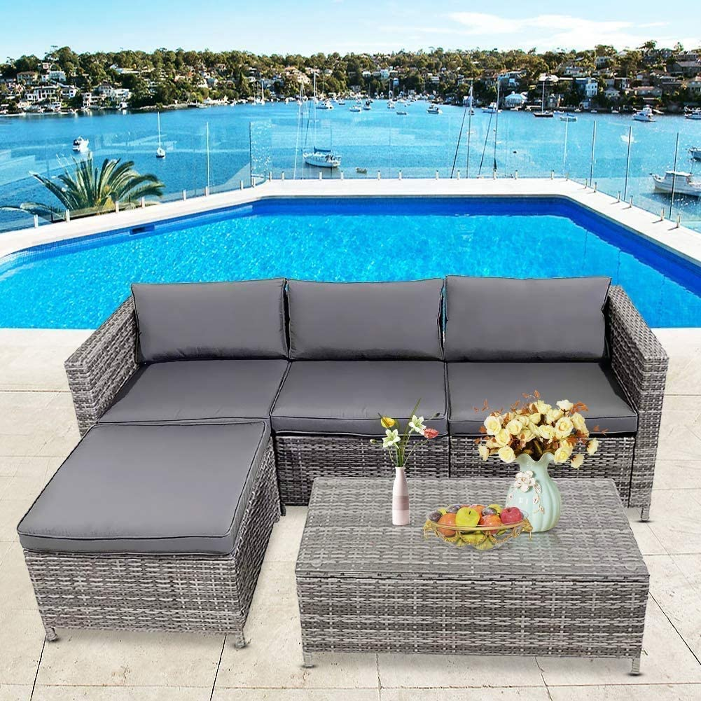 HCWORLD 5 Pieces Patio Furniture Set, Outdoor Rattan Sectional Sofa Conversation Set with Cushions and Tea Table (Grey)