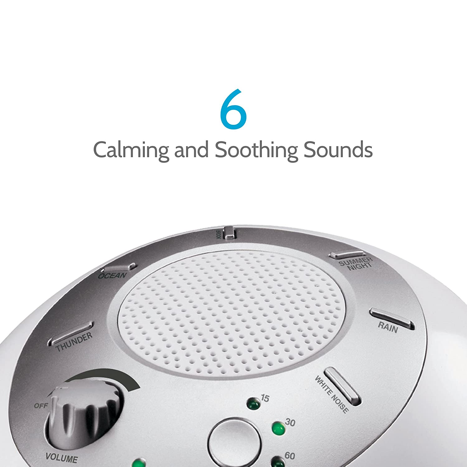 White Noise Sound Machine | Portable Sleep Therapy for Home , Office , Baby  & Travel | 6 Relaxing &