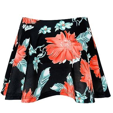 Dolamen Femme Shorts de Bain Jupe de maillot de bain, 2018 Maillot de Bain Femme Beachwear Swimwear Bikini Slip Robe de Plage Amincissante Slim Grande Taille (Medium, Bueflowers)