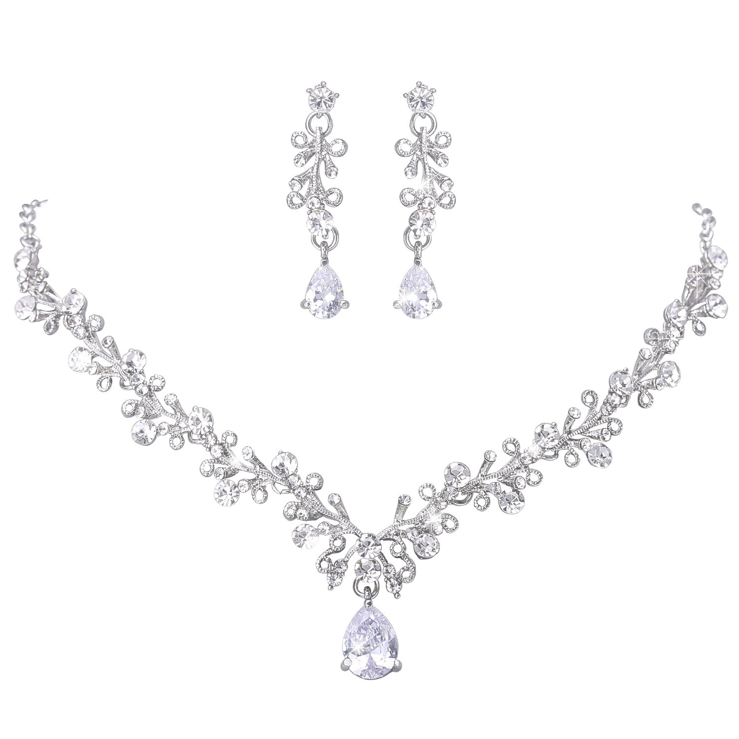 LILIE&WHITE Clear Crystal and Cubic Zircon Necklace and Earrings Jewelry Set For Wedding, Prom, Bridesmaids or Mother of Bride TL00012A
